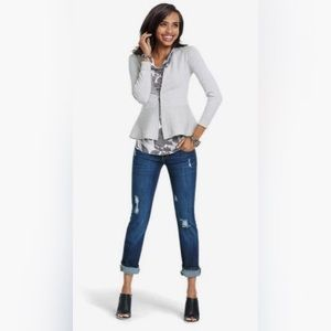 Cabi Ribbed Flared Willow Zip Up Cardigan